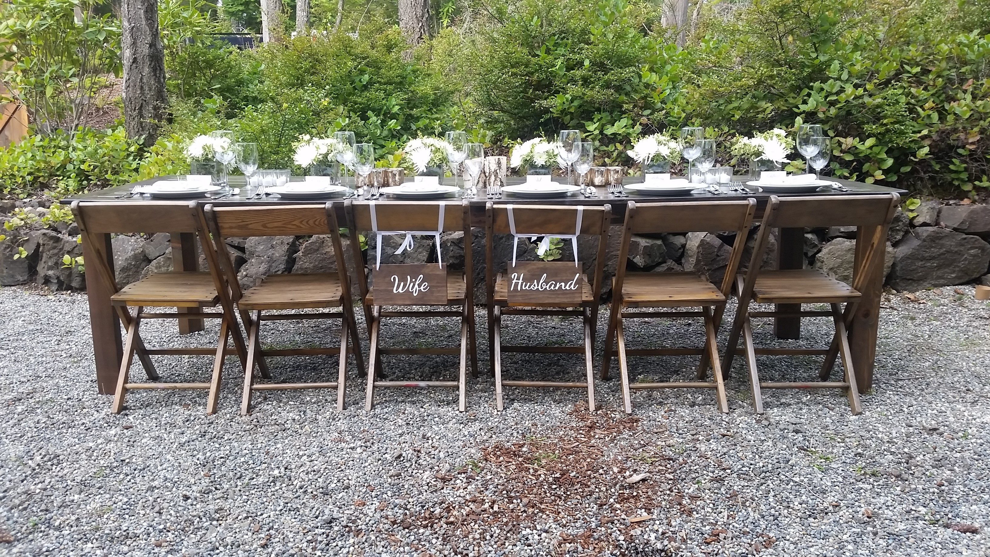Our Hand Crafted 10u2032 Farm Tables, Benches, French Farm Chairs, Barn Doors,  Arbors, China And Stemware Compliment Any Venue.