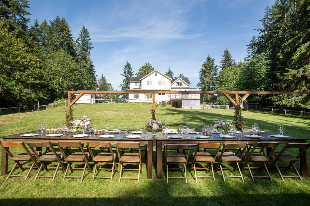 2 Classic Wood Farm Tables and Wood Chairs Event Rentals at Valley Meadows
