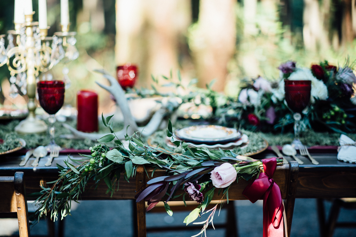 4 Classic Wood Table and Chairs Wedding in the Woods Gold Mountain Golf Club Venue