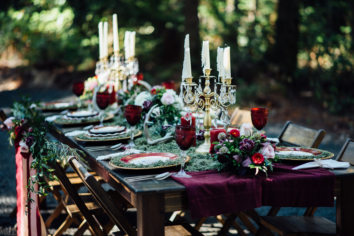 5 Dishes, glasses, wood farm table and chairs at Wedding in the Woods Gold Mountain Golf Course Venue