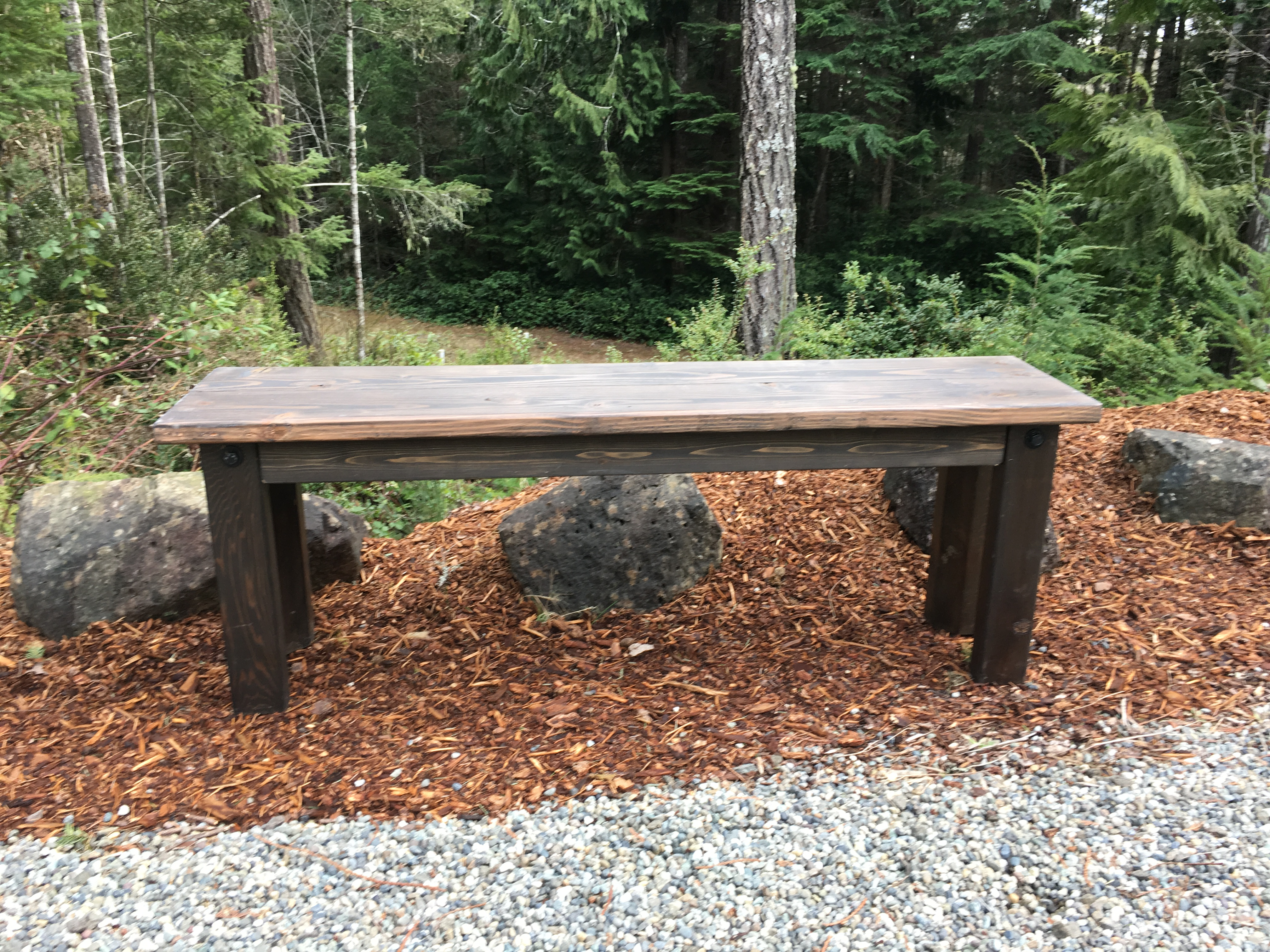 Rustic outdoor wood bench - 4 Leg Rustic Bench New For 2017
